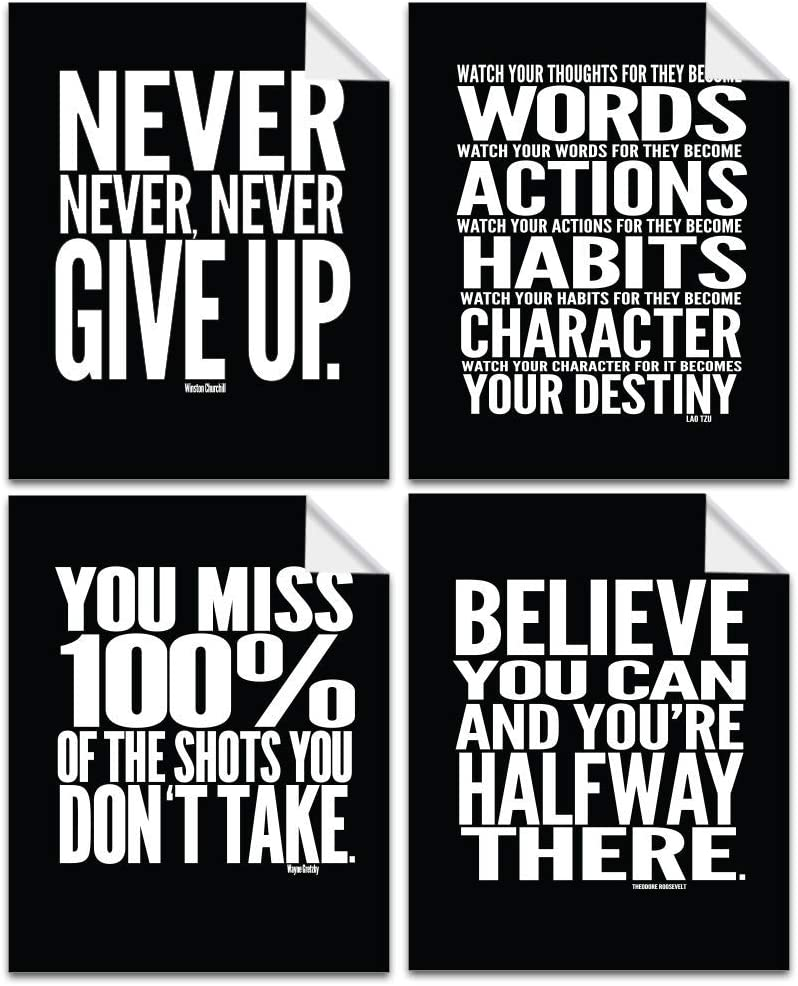 Lushleaf Designs Motivational Quote Workout Gym Posters - 8x10 - Set of 4 - Classroom Office Wall Art - Inspirational Teen Boy Girl Fitness Success Sports Goal Hard Work Black Paper Poster Finish