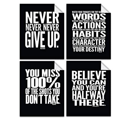9ee484147f8f8 Lushleaf Designs Motivational Quote Workout Gym Posters - 8x10 - Set of 4 -  Classroom Office