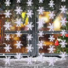 Pack 3D Snowflake Hanging Decorations for Christmas Party Holiday New Year Decoration White, 9.84 Feet Each, Total 29.52 Feet