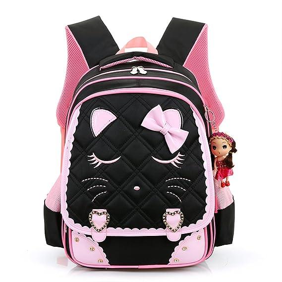 539e722f34c5 Hyundly Cute Cat Face Bowknot Teen Girls School Backpacks for Primary School  Bookbag (Medium