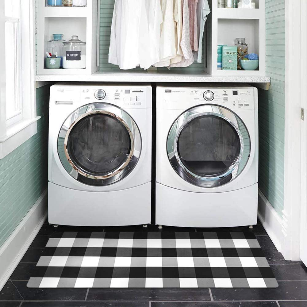 Abreeze Black&White Buffalo Check Rug for Laundry Room Nonslip Rubber Backer Mat Floor Runner Durable Carpet Waterproof Kitchen Mats 20''x48'', 1pc