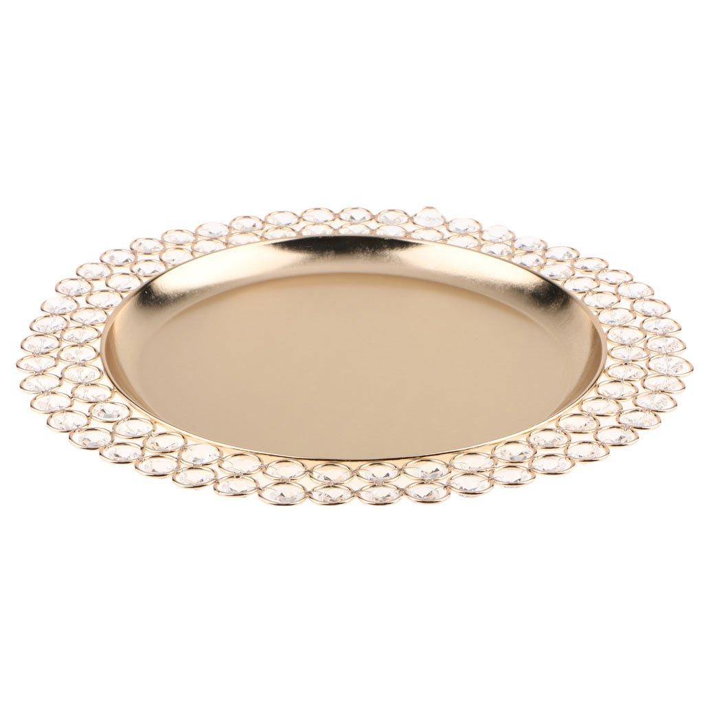 B Blesiya 33cm Decorative Crystal Dish Fruit Tray Ring Holder Home Decoration - Gold