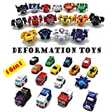 LUBA 16 Assorted Mini Toy Cars Airplane Vehicles Hunting Battle Q Car Transformers Robot Outdoor Toys Gifts for Kids Boys (All 16 Sets)