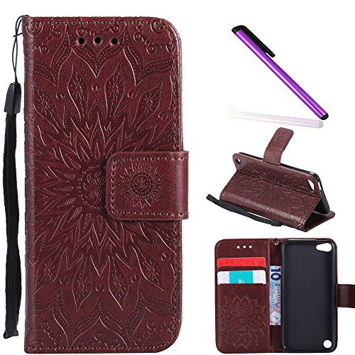 HMTECH iPod Touch 6 case Touch 5 Case 4 Inch Sun Flower Embossed Floral Wallet Case Card Slots Kickstand PU Leather Flip Stand Cover Stylus Pen for iPod Touch 6 iPod Touch 5 KT Mandala Brown ()