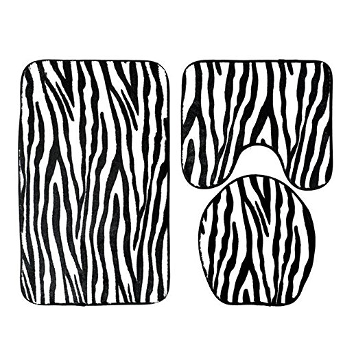 (3PCS Bathroom Mats Set, Vacally Creative Zebra Pattern Soft Non Slip Toilet Seat Cover and Bathroom Rug Set Decor Flannel Stripe Carpet Decoration Perfect Combination)