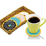 Cimostar Drinking Coasters, Creative Donut Design, Set of 4