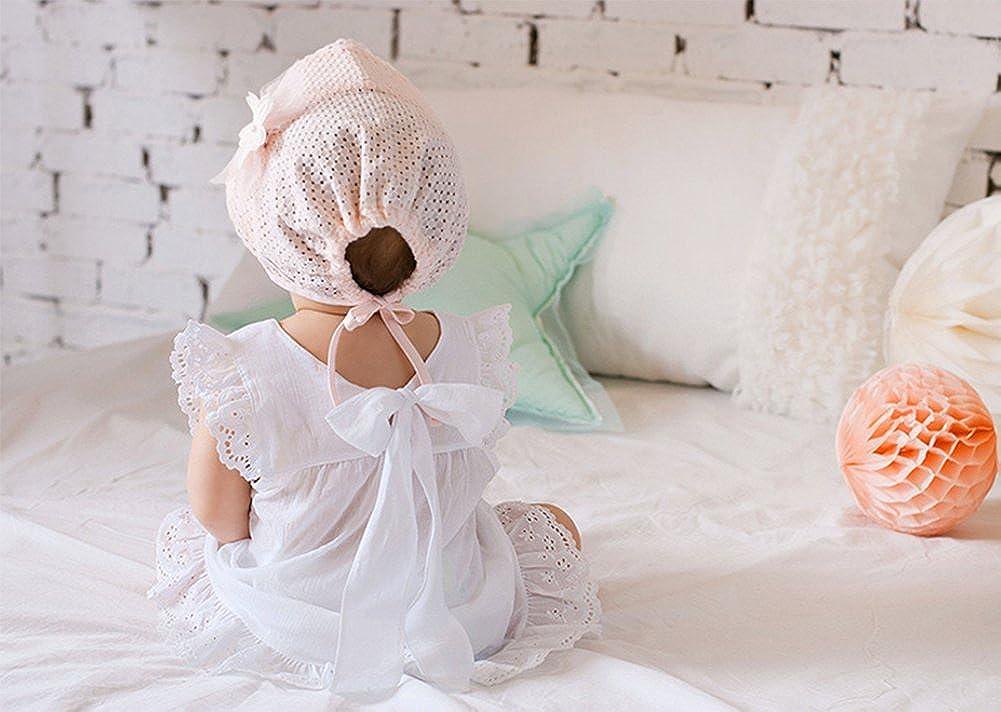Vikenner Lace Flower Hat Cap Infant Toddler Beanie Bonnet Hats Summer Breathable Sunbonnet for Baby Girls Pink