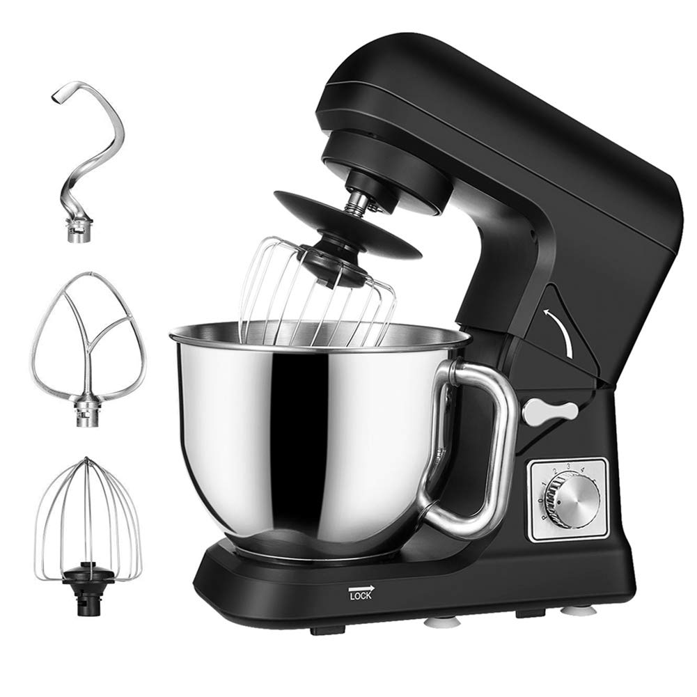 Stand Mixer Tilt Head, 5 Quart Classic 6 Speed 500W Kitchen Dough Mixer (Black)