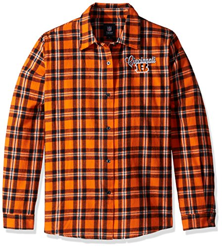 Cincinnati Bengals 2016 Wordmark Basic Flannel Shirt - Womens Large by Forever Collectibles