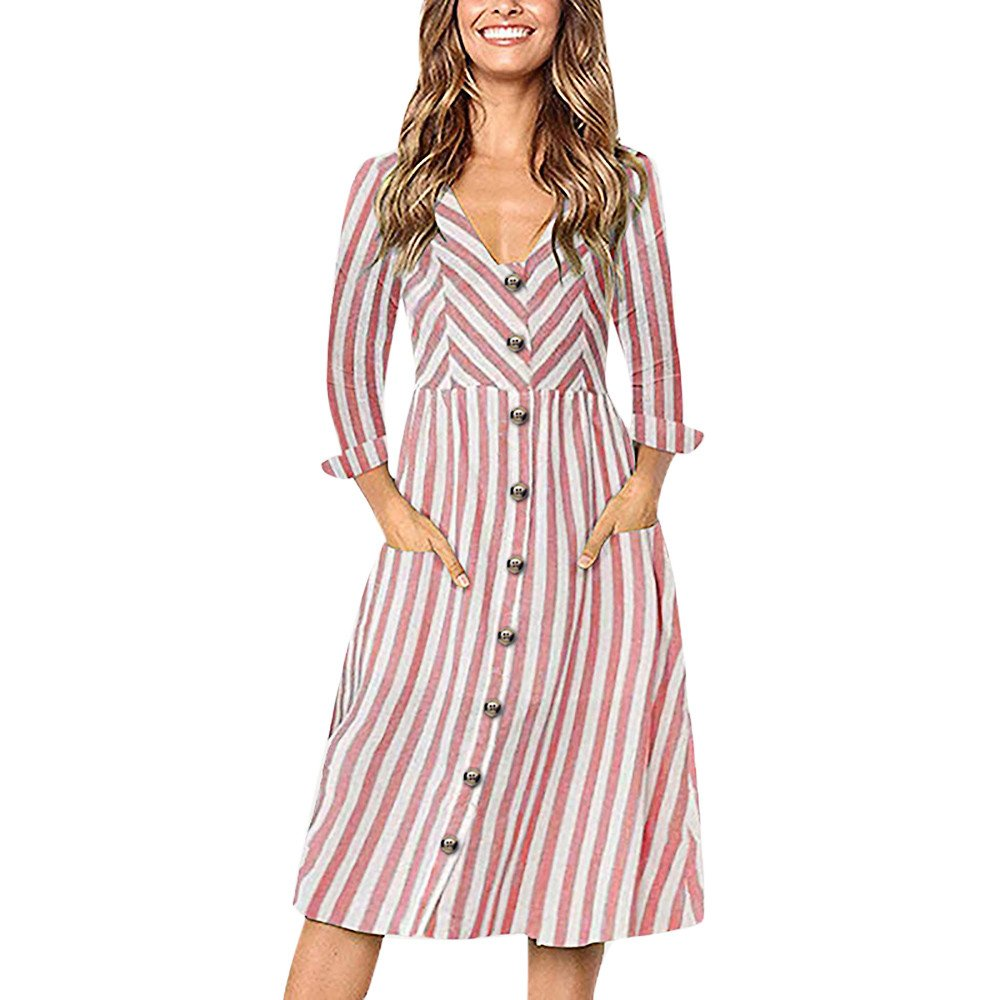 JESPER Fashion Womens Casual Long Sleeve V-Neck Striped Print Button Long Dress with Pocket Red