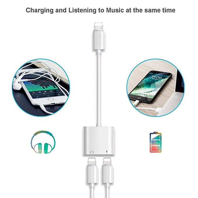 Headphone Adapter for iPhone8 Adapter AUX Audio & Charger & Call & sync Cable Dongle AUX Audio Jack Charge Adapter Earphone Cable Converter Compatible ...