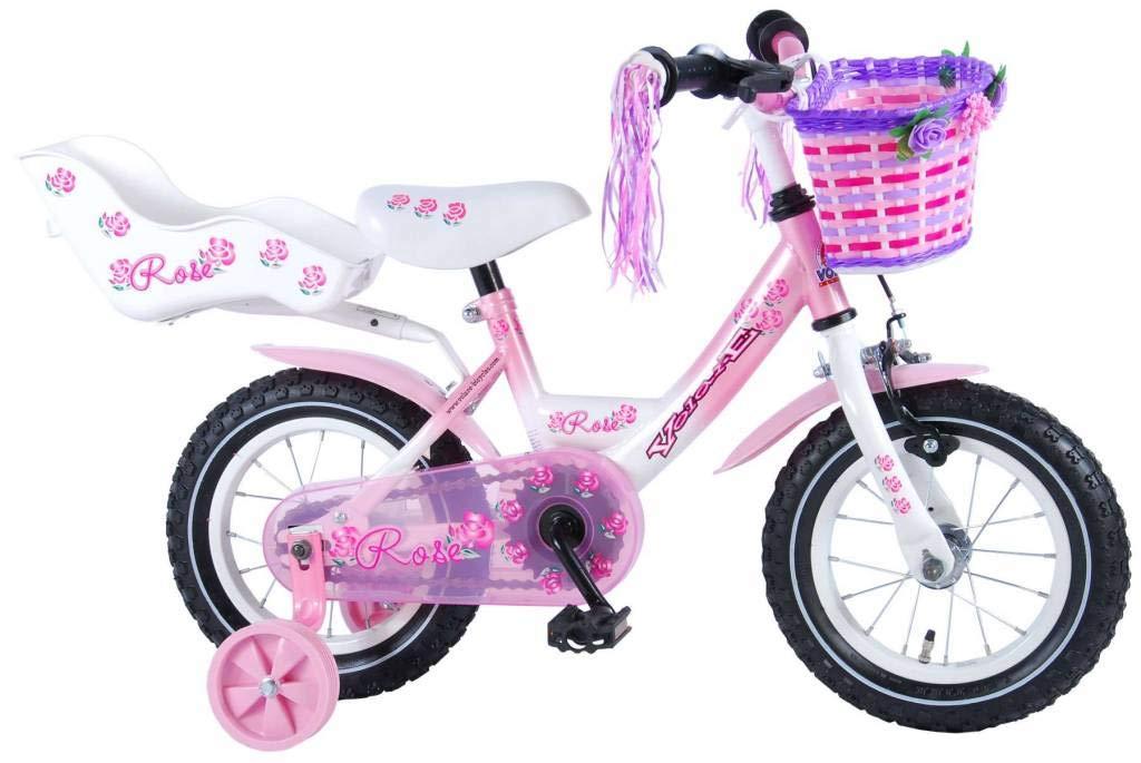Bicicleta Niña Volare Rose 12 Pulgadas Ruedas Extraíbles la Cesta y Asiento Trasero de la Muñeca Rosa 95% Montada