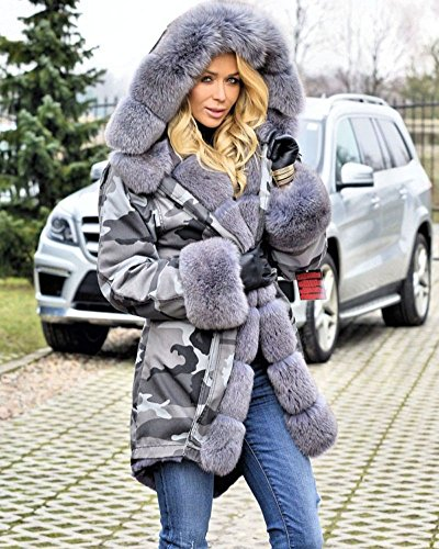 Roiii Plus Size Womens Military Hooded Warm Winter Coats Faux Fur Lined Parkas (Medium, Grey) by Roiii (Image #4)