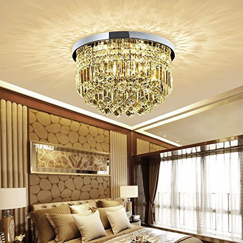 Saint Mossi Modern K9 Crystal Raindrop Chandelier Lighting Flush mount LED Ceiling Light Fixture Pendant Lamp for Dining Room Bathroom Bedroom Livingroom 9 E12 LED Bulbs Required Height 11 x Width 20 by Saint Mossi