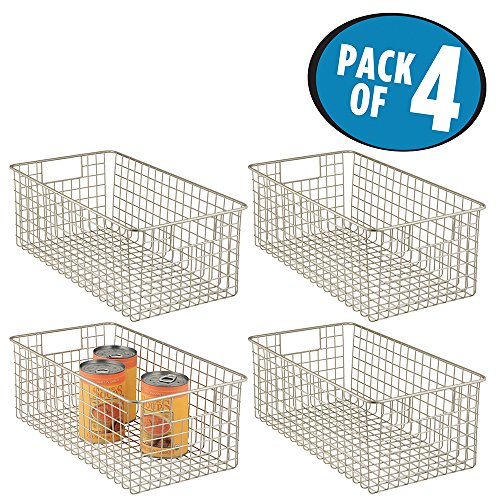 mDesign Wire Storage Basket for Kitchen, Pantry, Cabinet – Pack of 4, Deep, Satin