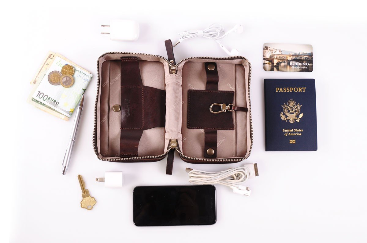 Buffalo / Vachetta Carryall Travel Kit (Walnut) by Borlino (Image #4)