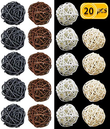 Christmas Decorative Ball - UPlama 20PCS 2 Inch Wicker Rattan Balls Decorative Themed Party,Decorative Orbs Vase Fillers For Craft,Wedding Decoration,Baby Shower,Aromatherapy Accessories,Christmas Tree(Black Brown Natural White)
