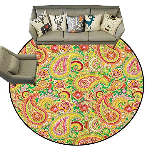 - Paisley,Bedroom Rugs Traditional Persian Paisley Pattern Print with Eastern Ethnic Elements Vintage D60 Nursery Circle Rug for Infant and Children