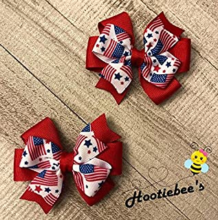 American Flag Toddler Hair Bow Set (Red or Blue)