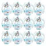 Aolvo Mini Candy Boxes Birthday Gift Boxes Girls Baby Decorations Treat Box Supplies,Party Baby Shower Favors Basket Candy Box Gift Box,Blue(12pcs)