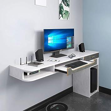 AFEO Escritorio de la computadora con Cajon Mueble TV de Pared Estante de la Pared Estante Flotante Soportes de TV Set-Top Box enrutador CD DVDs Teclado Gabinete de Almacenamiento Consola Multimedia: Amazon.es: