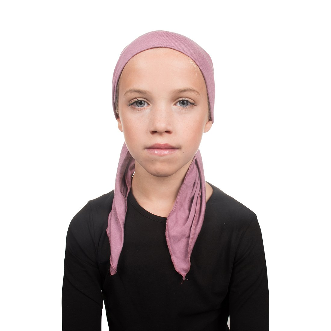 Kids Chemo Cap Pretied for Girls Soft Cancer Scarf Brown