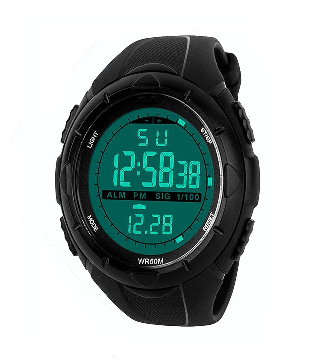 Reloj TOPCABIN electrónico, resistente al agua hasta 50 m, digital, para jóvenes, deportivo, con LED y alarma