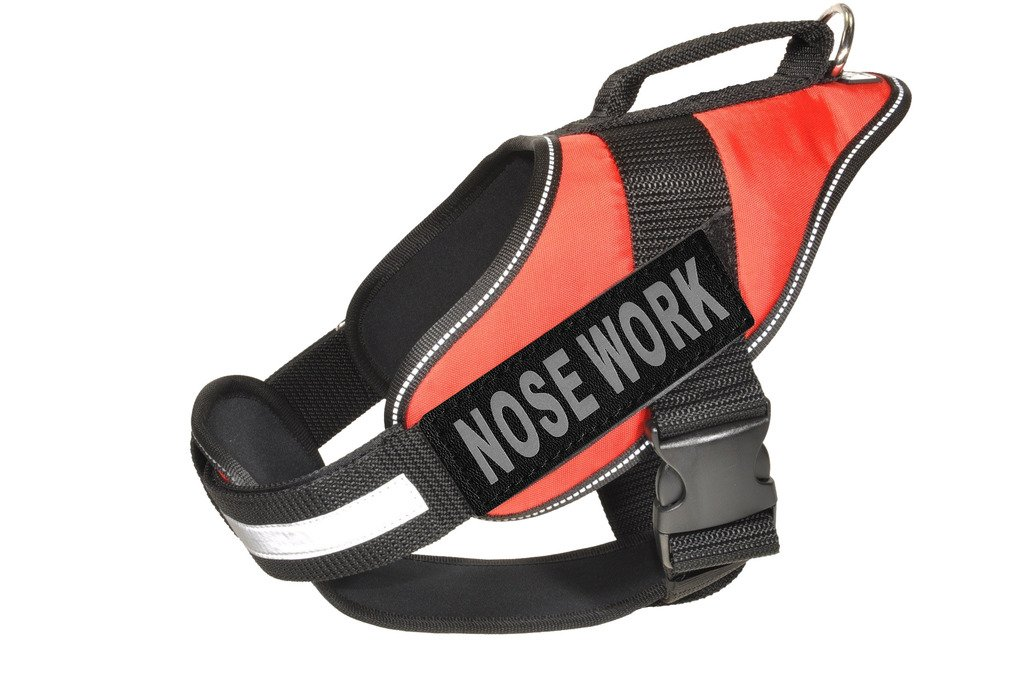 Dogline Alpha Nylon Service Vest Harness with Nose Work Velcro Patches, Large, Red