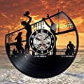 Volleyball Beach Art Record Clock Wall Decoration Modern Vintage Home Room