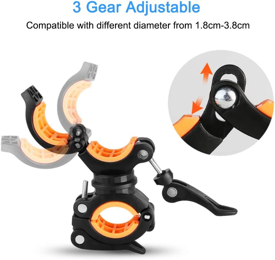Cycling Riding 2 Pack Flashlight Mount Holder COSOOS Universal Bicycle Led Light Mounting Holder 360/° Rotation Clip Clamp for Flashlight