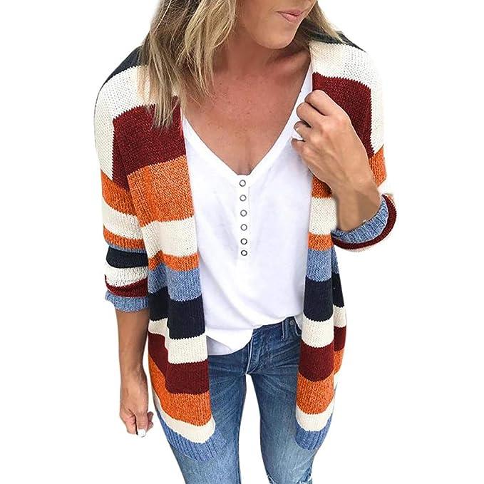 Amazon.com: Staron Womens Sweater Cardigan Colorblock ...
