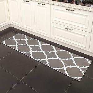 "USTIDE Laundry Room Rug Gray Moroccan Trellis Non-Slip Rubber Backed Kitchen Mat Floor Runner Waterproof Carpet 20""x48"""