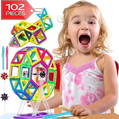 Lazy Monk Magnetic Blocks Tiles for Kids - 102 Pcs Magnet Building Tile for Toddlers - 3D Educational Toys (Ink Tiles)