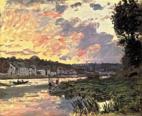 Oil Painting 'The Seine At Bougival In The Evening, 1870 By Claude Monet' Printing On Perfect Effect Canvas , 10x12 Inch / 25x31 Cm ,the Best Laundry Room Artwork And Home Gallery Art And Gifts Is This High Definition Art Decorative Canvas Prints ()