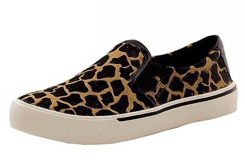 3817b152e64 DKNY Donna Karan Women s Bess Sable Black Giraffe Leather Sneakers Shoes  Sz  6
