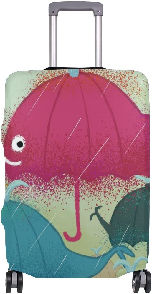 OREZI 3D Colorful Whale In Rain Luggage Protector Suitcase Cover 18-32 Inch