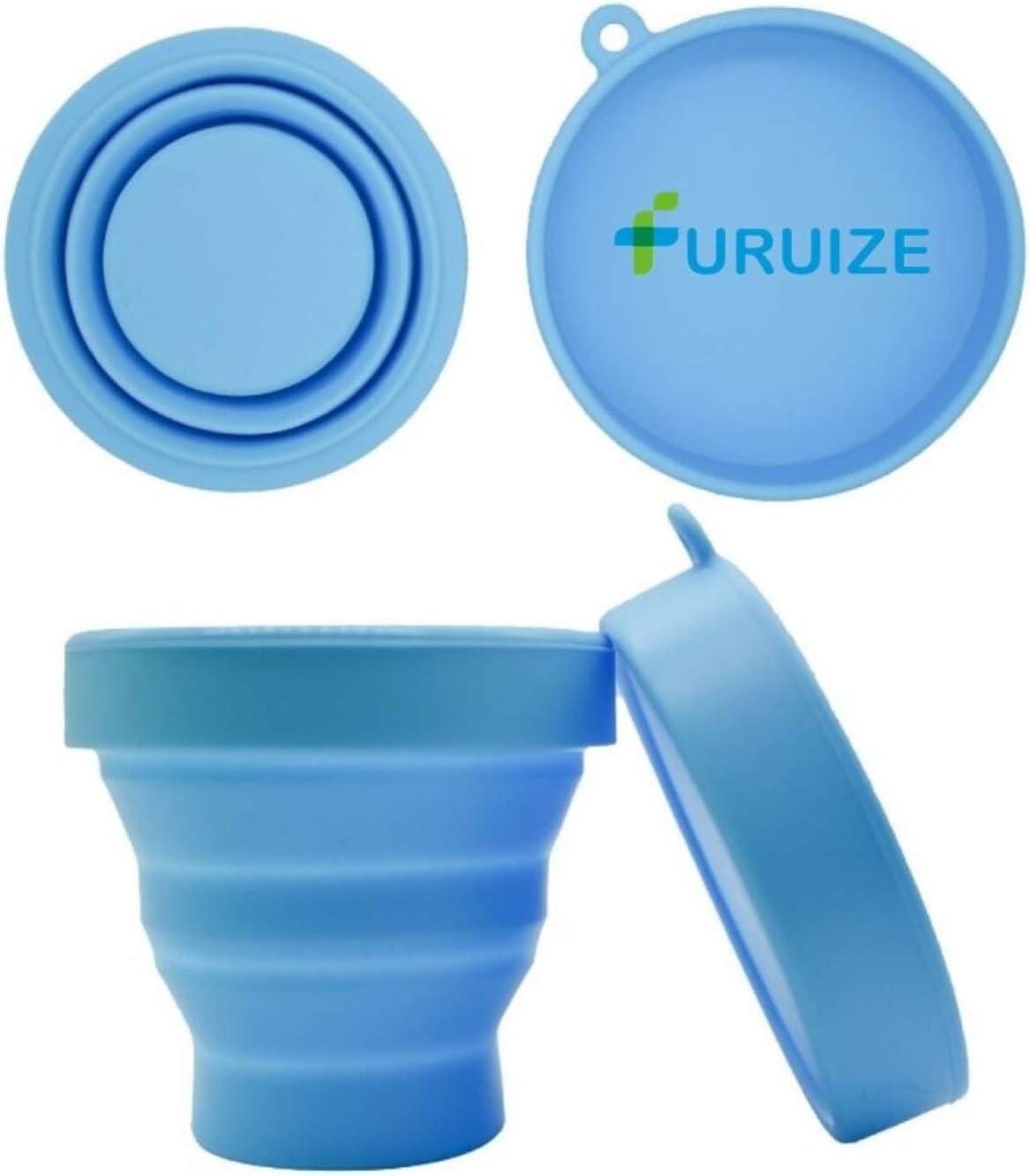 Taza de Esterilización Plegable Furuize. Esterilizador de Copas Menstruales. Silicona de Grado Médico. Azul