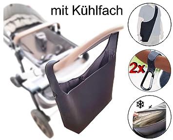 Shopper Kinderwagen-tasche gross Rollator Rollstuhl Zubeh/ör v2 SCHWARZ MIND CARE ESSENTIALS mit K/ühlfach Universelle Kinderwagen Einkaufstasche XL 2 Karabinerhaken Schultergurt Neopren