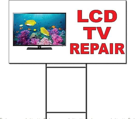 Televisor LCD reparación rojo plástico corrugado Yard Sign/libre juego 18 x 24 pulgadas Dos Lados Color: Amazon.es: Jardín