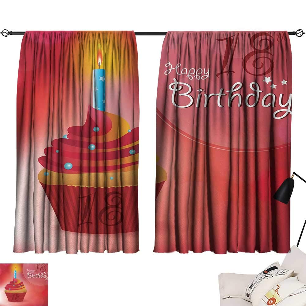 Jinguizi 18th Birthday Bedroom/Living Sweet Eighteen Party Birthday Cupcake with Candles Artwork Print Insulating Darkening Curtains Hot Pink Red and Orange W55 x L39