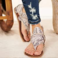 succeedtop Women Super Posh Gladiator Comfy Sandals, Ladies Fashion Leopard/Zebra/Snake Pattern Flat Heel Slip On Sandals with Zipper (4.5, A)