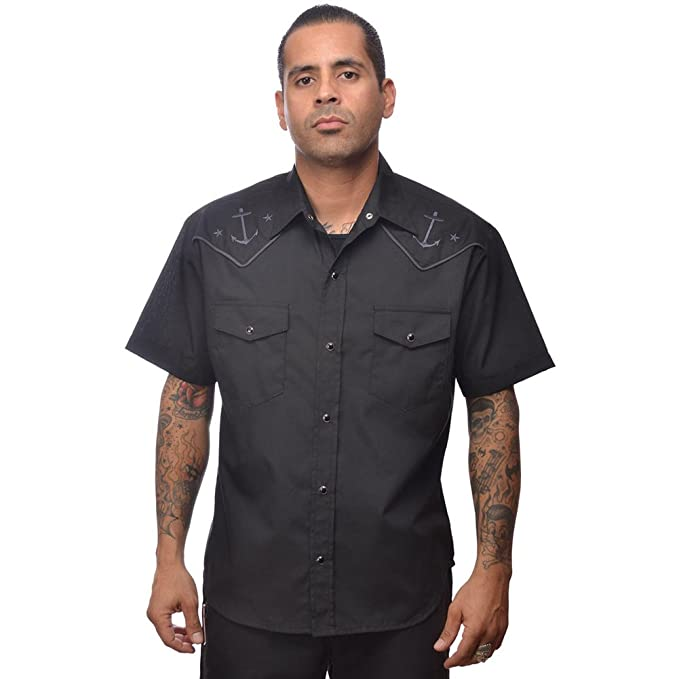 1950s Mens Shirts | Retro Bowling Shirts, Vintage Hawaiian Shirts Mens Steady Clothing Anchored Western Shirt Black $64.99 AT vintagedancer.com