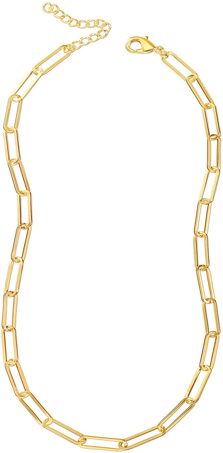Reoxvo Gold Chain Necklace Paperclip Link Chain Necklaces for Women: Jewelry