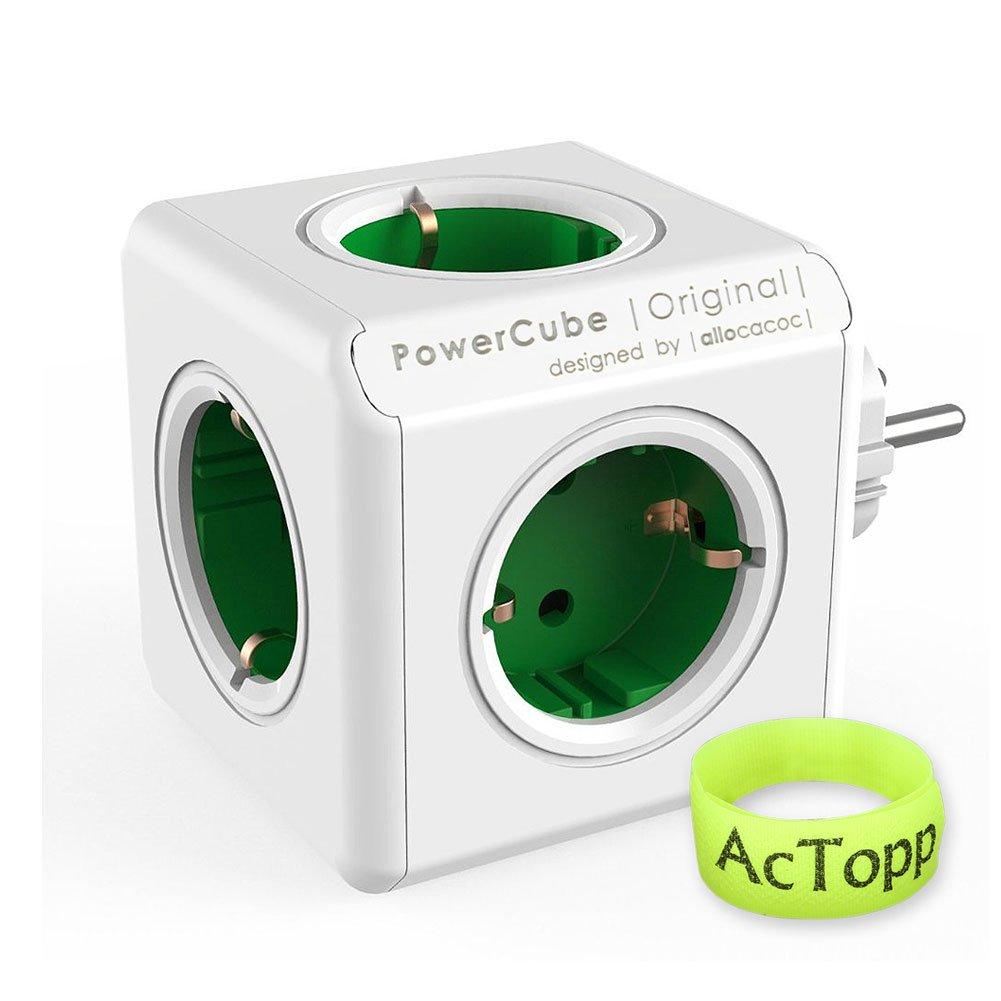 AcTopp Allocacoc Powercube Enchufe de Regleta Adaotador de Viaje con 5 tomas Forma de Cubo Ahorro de espacio Ladró n de Enchufe Color Verde+Blanco