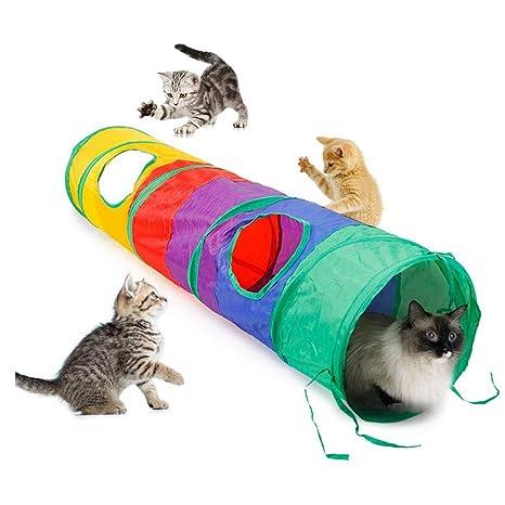 Somorgan túnel Plegable para Gatos arcoíris con 2 Agujeros Plegable portátil para Jugar a Conejos,