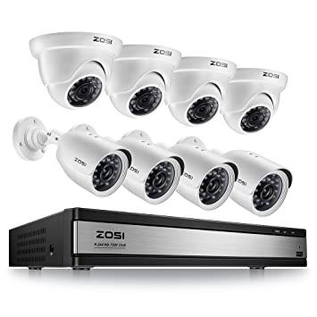 ZOSI 1080p 16 Channel 8 Camera Security System, 16 Channel DVR Recorder and (8) 2MP 1080p Surveillance Bullet Dome Cameras Outdoor/Indoor with Night ...