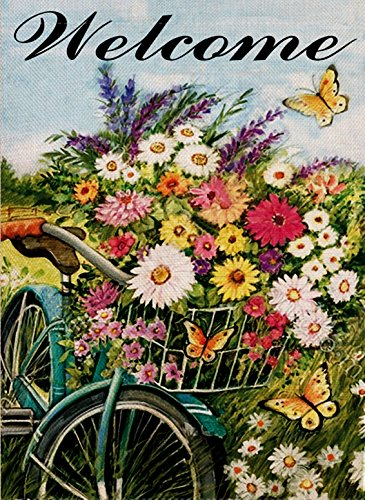 Dyrenson Home Decorative Outdoor Bicycle Garden Flag Bike Double Sided, Welcome Quote House Yard Flag Watercolor, Flower Garden Yard Decorations, Floral Daisies Butterfly Seasonal Outdoor Flag 12 x 18 (Bike Flag)