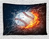 Ambesonne Sports Decor Collection, Baseball Ball On Fire And Water Flame Splashing Thunder Lightning Creative Art, Bedroom Living Room Dorm Wall Hanging Tapestry, 80W X 60L Inch