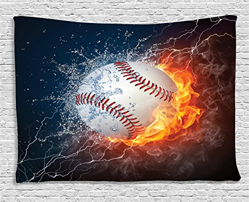 Ambesonne Sports Decor Collection, Baseball Ball On Fire And Water Flame Splashing Thunder Lightning Creative Art, Bedroom Living Room Dorm Wall Hanging Tapestry, 80W X 60L Inch by Ambesonne