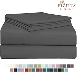 Pizuna 400 Thread Count Cotton Twin XL Sheet Set Dark Grey, 100% Long Staple Cotton Smooth Sateen Bed Sheets with Stylish 4 inch Hem, fit Upto 15 inch Deep Pocket (Dark Gray 100% Cotton Twin XL Sheet)